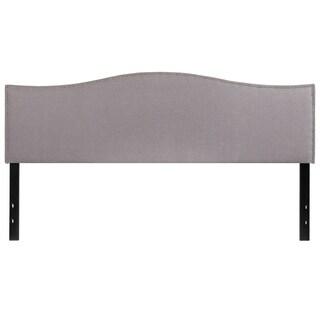 Regal King Size Light Grey Fabric Headboard with Nailhead Trim
