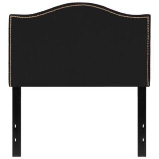 Regal Twin Size Black Fabric Headboard with Nailhead Trim