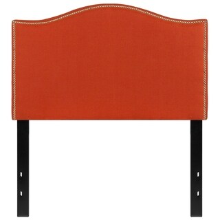 Regal Twin Size Orange Fabric Headboard with Nailhead Trim