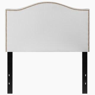 Regal Twin Size White Fabric Headboard with Nailhead Trim