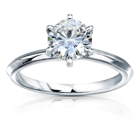 Annello by Kobelli 14k Gold 1 Carat Classic Solitaire Round Brilliant Moissanite Engagement Ring (GH, VS)