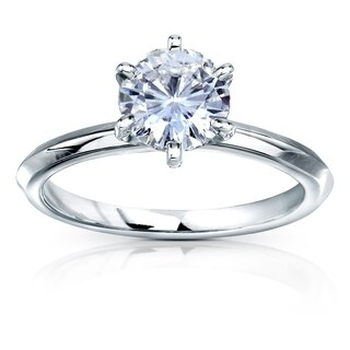 Annello by Kobelli 14k Gold 1 Carat Classic Solitaire Round Brilliant Moissanite Engagement Ring (DEF, VS)