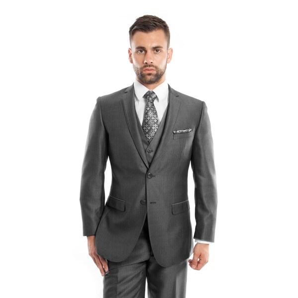 Men's Suit 3 Pieces Slim Fit Herringbone Two Button Notch Lapel Suit