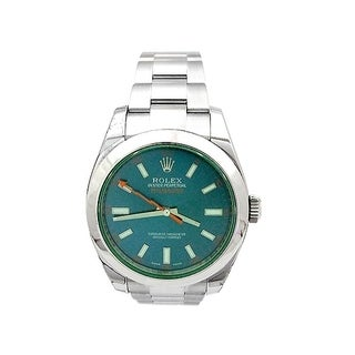Pre-owned 40mm Rolex Stainless Steel Oyster Perpetual Milgauss Watch with Blue Dial