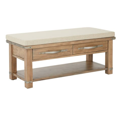 Matera 2 Drawer Wood Bench with Linen Fabric Top