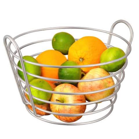 Home Basics Simplicity Collection Satin Nickel Fruit Basket