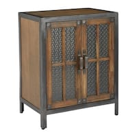 OSP Home Furnishings 2-door Alder Finish Rustic Metal Console