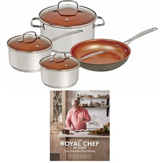 Nuwave 7 pc. Duralon Ceramic Cookware Set with The Royal Chef At Home Cookbook