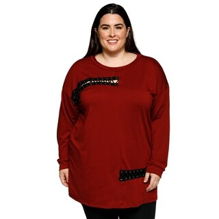 Xehar Womens Plus Size Stylish Detailed Lace Up Trim Pullover Sweater