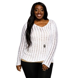Xehar Womens Plus Size Casual Striped Illusion Long Sleeve Fashion Sweater