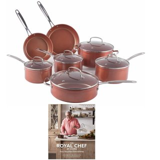 Nuwave Duralon Ceramic 12 pc Cookware Set with The Royal Chef At Home Cookbook