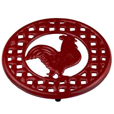 Home Basics Red Cast Iron Rooster Trivet