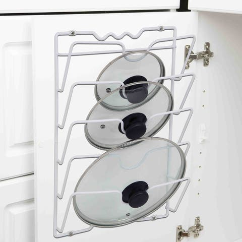 Home Basics White Wall Cabinet Mound Lid Rack