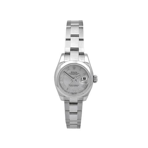 Pre-owned 26mm Rolex Stainless Steel Oyster Perpetual Datejust Watch with Silver Dial