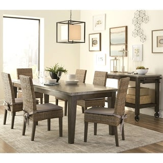 Rustic Industrial Design Metal Top Dining Set with Rattan Chairs and Kitchen Island Cart