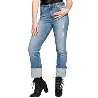 Xehar Womens Curvy Distressed Bootcut Denim Jeans