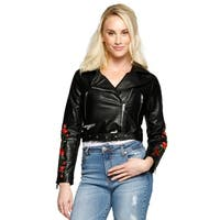 Xehar Womens Floral Embroidery Cropped Moto Faux Leather Jacket