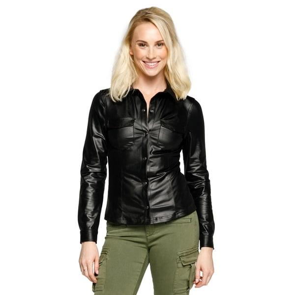 4787abef57b3 Xehar Womens Shiny Metallic Faux Leather Long Sleeve Blouse Shirt Top