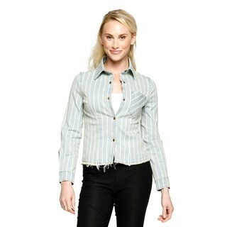 Xehar Womens Casual Long Sleeve Collared Stripe Shirt Top