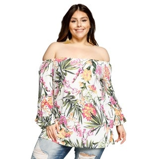 Xehar Womens Plus Size Off Shoulder Floral Bell Sleeves Blouse Top