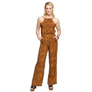 Xehar Womens Sleeveless Leaf Print Long Romper Playsuits Jumpsuits