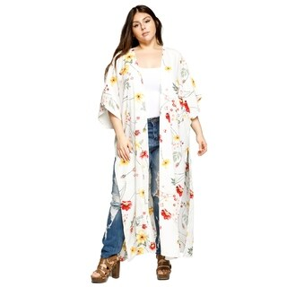 Xehar Womens Plus Size Open Front Floral Loose Long Kimono Cardigan