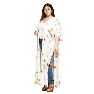 Xehar Womens Plus Size Open Front Floral Loose Long Kimono Cardigan