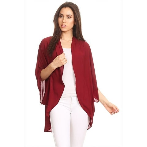 Women's Solid Chiffon Cardigan