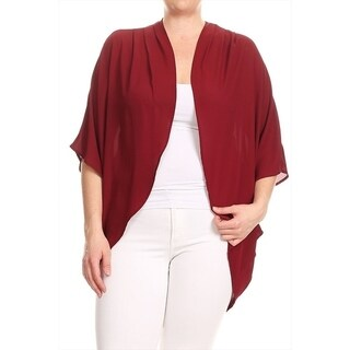 Women's Plus Size Solid Chiffon Cardigan