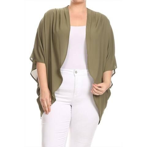 Women's Plus Size Solid Chiffon Cardigan