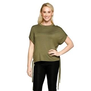 Xehar Womens Casual Short Sleeve Side Drawstring Tunic Blouse Top