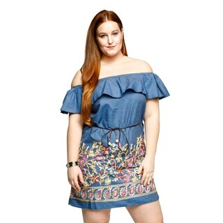 Xehar Womens Plus Size Off Shoulder Embroidered Floral Short Dress