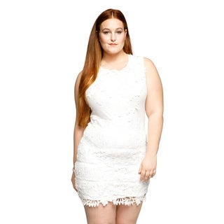 Xehar Womens Plus Size Sleeveless Embroidered Lace Short Mini Dress