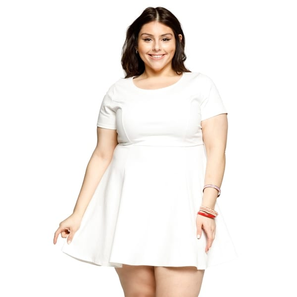 64f3bedce32 Shop Xehar Womens Plus Size Casual Sexy Fit Flare Short Mini Skater ...