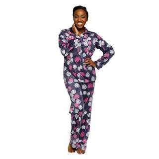 Xehar Womens Soft Plush Snow Flakes Print Pajama Set ( 2 Piece Set)