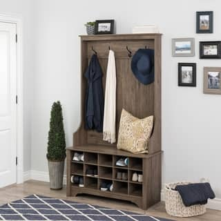 Prepac Wide Hall Tree and Bench with Shoe Storage