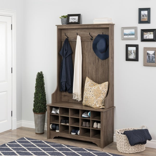 Prepac Hall Tree with Bench and Shoe Storage