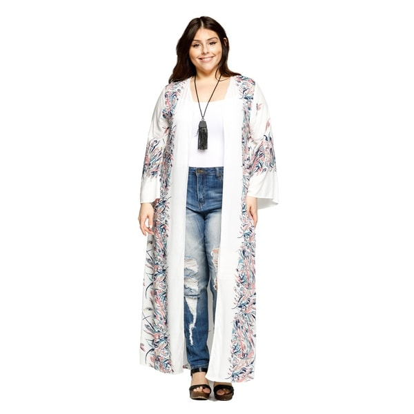 ad30c23e685 Shop Xehar Womens Plus Size Open Front Long Floral Print Kimono ...