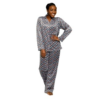 Xehar Womens Soft Plush Polka Dot Print Pajama Set ( 2 Piece Set)