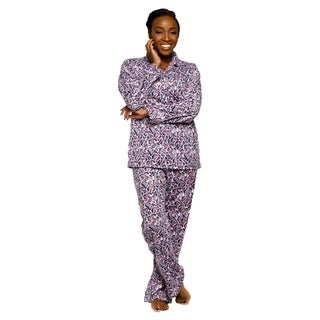 Xehar Womens Soft Plush Leopard Print Pajama Set ( 2 Piece Set)