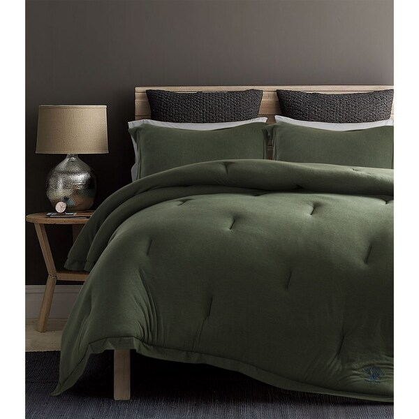 Beverly Hills Polo Club 3 Pieces Jersey Knit Comforter Set Twin Green