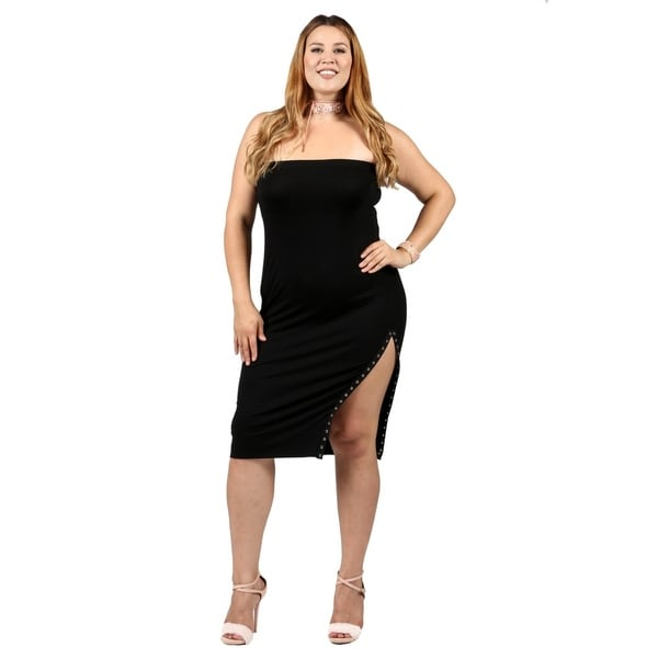 Xehar Womens Plus Size Sexy Fitted Side Slit Bodycon Tube Dress