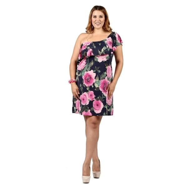 5d609cb80f9 Shop Xehar Womens Plus Size One Shoulder Floral Print Ruffle Dress ...