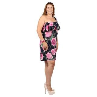 Xehar Womens Plus Size One Shoulder Floral Print Ruffle Dress