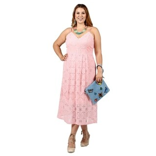Xehar Womens Plus Size Casual Sleeveless Crochet Lace Dress (3 options available)