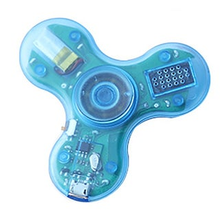 Transparent LED Spinners with Bluetooth Speaker (Option: Blue)