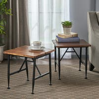 Eleanora Industrial Acacia Wood End Table (Set of 2) by Christopher Knight Home