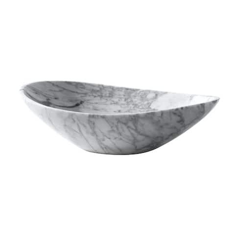 "Avanity 20.1-inch Oval Stone Vessel in Carrera White Marble - 20.1""W x 5.9""D"