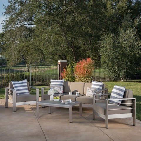 Cape Coral Outdoor Aluminum 4-piece Chat Set with Cushion by Christopher Knight Home