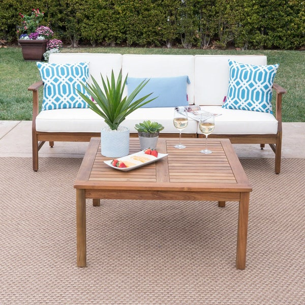 Perla Outdoor Acacia 4-pc. Cushioned Sofa and Table Set by Christopher Knight Home. Opens flyout.